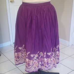 Purple Lattice Garden Border Maxi Skirt